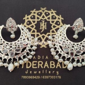 Silver Plated Basket Chandbali With Real Pearls