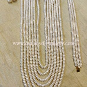 7 layer Real Pearl String with Small Tops and Bracelet