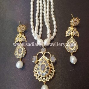 White Jugni Set with Real Pearl