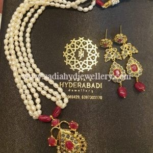 Real Ruby Jugni Set with Real Pearls