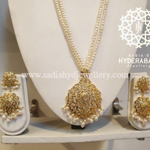 White Azmat Pendant Set with Real Pearl