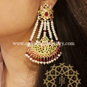 Red Green Real Pearl Rameen Earring