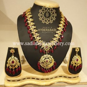 Gold Plated Red Ashna Necklace Set