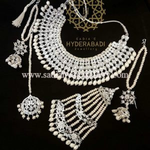 Silver Plated Fadeelah Bridal Set with Real Pearls