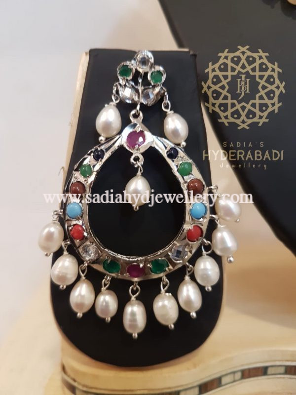 Silver Plated Multi Colour Barfi Set with Real Pearl