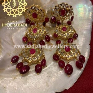 Real Ruby 3 Layer Earring from Hyderabadi Jewellery