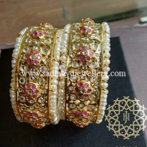 Red Isra Bangle with Real Pearl