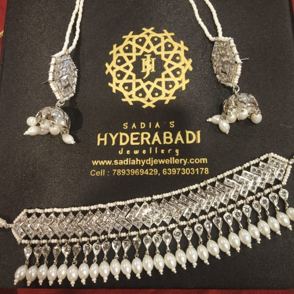 Silver Plated Rabia Light Necklace from Hyderabadi Jewellery
