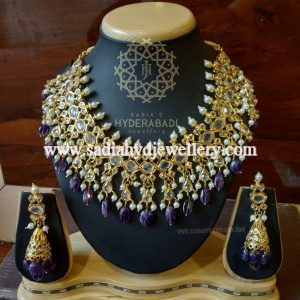 Real Amethyst Heavy Necklace Set