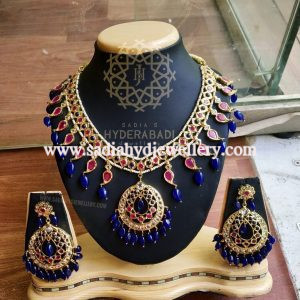 Red Blue Champakali Necklace