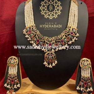 Multi Colour Afsana Necklace Set with Real Pearl