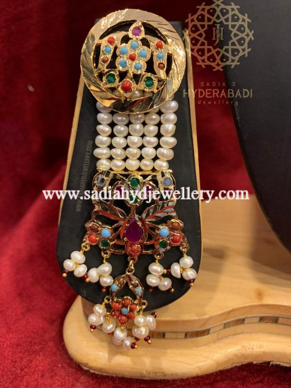 Multi Colour Afsana Necklace Set with Real Pearl Earring