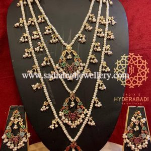 Multi Colour Nikah Bali 3 Layer Set with Real Pearls
