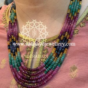 Multi Colour Real Precious Beads 5 layer String