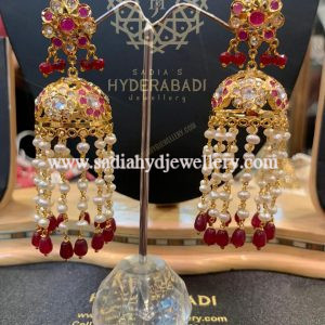 Red Shaista Earring With Real Pearl