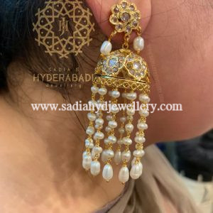 White Shaista Earring With Real Pearl