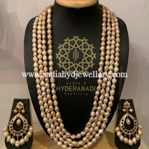 4 Layer Baby Pink Real Pearl String Set
