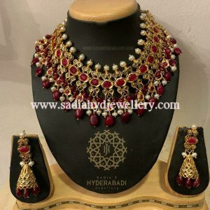 Real Ruby Real Pearl Heavy Necklace Set
