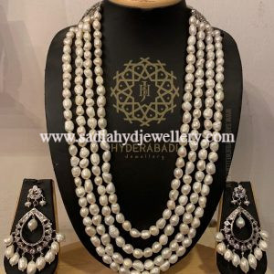 Silver Plated 4 Layer White Real Pearl String Set