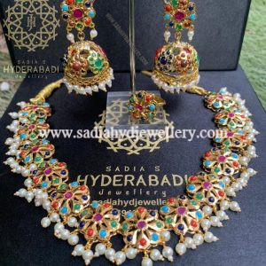 Multi Colour Flower Necklace with Jhumki